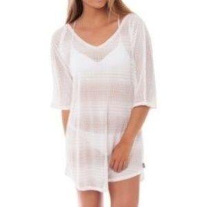 O'Neill white mesh 3/4 sleeve tunic swim coverup